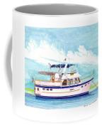 37 Foot Marine Trader 37 Trawler Yacht At Anchor Coffee Mug by Jack Pumphrey