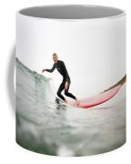 A Surfer Enjoys The Waves In Carlsbad Coffee Mug