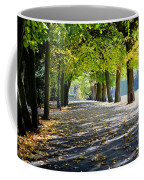 Alley With Falling Leaves In Fall Park Coffee Mug