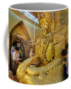 4 M Tall Sitting Buddha With Thick Layer Of Golden Leaves In Mahamuni Pagoda Mandalay Myanmar Coffee Mug