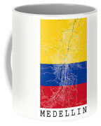 Medellin Street Map - Medellin Colombia Road Map Art On Colored  Coffee Mug