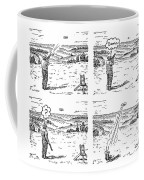 4 Panels.  Man Shoots At A Grout Which Then Turns Coffee Mug