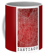 Santiago Street Map - Santiago Chile Road Map Art On Colored Bac Coffee Mug