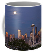 Seattle Skyline With Moonrise And Space Needle Coffee Mug