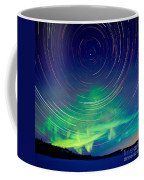 Star Trails And Northern Lights In Night Sky Coffee Mug