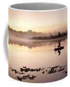 Sunrise In Fog Lake Cassidy With Fishermen In Small Fishing Boat Coffee Mug