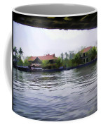 View Of Lake Resort Framed From The Top Of A Houseboat Coffee Mug