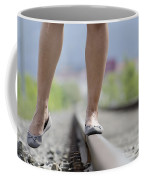 Walking On Railroad Tracks Coffee Mug