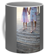 Mother And Daughter On A Wooden Board Walk Coffee Mug