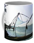 Fishing Nets On The Sea Coast In Alleppey Coffee Mug