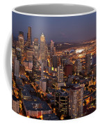 Seattle Skyline With Mount Rainier And Downtown City Lights Coffee Mug