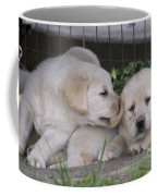 Yellow Labrador Retriever Puppies Coffee Mug by Linda Freshwaters Arndt