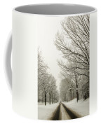 Snow Covered Road And Trees After Winter Storm Coffee Mug