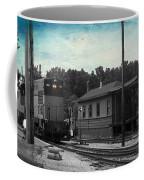 760 Train Engine Passing The Station Sc Textured Coffee Mug
