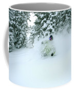 A Man Skiing In Powder Near South Lake Coffee Mug