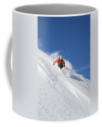 A Young Man Skis Untracked Powder Coffee Mug