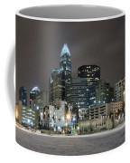 Charlotte Queen City Skyline Near Romare Bearden Park In Winter Snow Coffee Mug