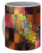 Abstract Checkered Pattern Fractal Flame Coffee Mug