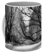 9 Black And White Artistic Painterly Icy Entrance Blocked By Braches Coffee Mug