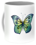 92 Teal Button Cap Butterfly Coffee Mug by Amy Kirkpatrick