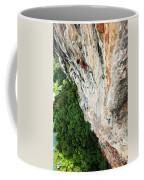 A Athletic Man Rock Climbing High Coffee Mug