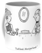 A Bald Man At A Bar In A Tux Speaking Coffee Mug