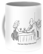 A Bald Man Speaks To A Woman At A Restaurant Coffee Mug by Mike Twohy