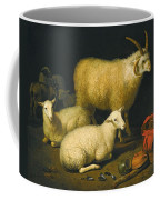 A Barn Interior With A Four-horned Ram And Four Ewes And A Goat Coffee Mug