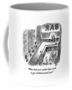 A Bartender Cleans A Glass. At The Other End Coffee Mug