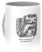 A Bartender Cleans A Glass. At The Other End Coffee Mug by Frank Cotham