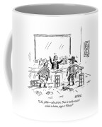 A Bartender In A Saloon Looks Alarmed As Two Coffee Mug