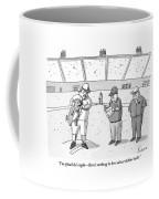 A Baseball Player Holds Up A Panting Dog Coffee Mug by Zachary Kanin
