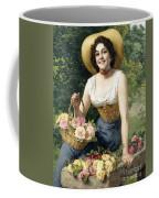 A Beauty Holding A Basket Of Roses Coffee Mug
