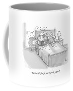 A Beekeeper Surrounded By Bees Is Sitting In Bed Coffee Mug by Paul Noth