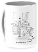 A Befuddled Woman Is Reading A Cookbook Coffee Mug