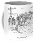 A Blindfolded Pirate Walks The Plank Coffee Mug