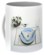 A Blue Table Setting Coffee Mug