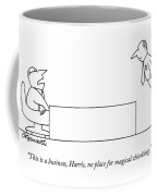 A Boss Behind A Desk Berates His Inferior Coffee Mug
