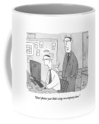 A Boss With Devil's Horns Speaks To An Employee Coffee Mug