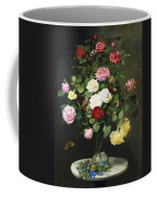 A Bouquet Of Roses In A Glass Vase By Wild Flowers On A Marble Table Coffee Mug