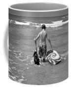 A Boy And His Dog Go Surfing Coffee Mug