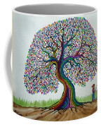 A Boy His Dog And Rainbow Tree Dreams Coffee Mug