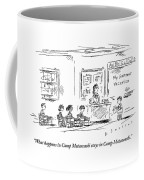 A Boy Reads A Report On His Summer Vacation Coffee Mug
