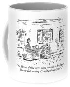 A Boy Sits Across From A Woman Behind A Desk Coffee Mug