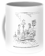 A Boy Speaks To His Mother In Their Living Room Coffee Mug