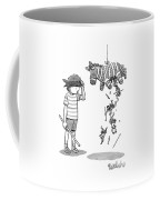 A Boy Watches As The Pinata He Just Hit Drops Coffee Mug