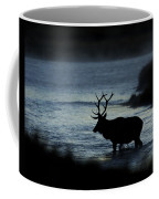 A Bull Elk Crosses The Madison In The Early Morning  Coffee Mug