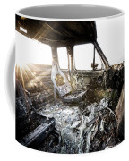 A Burned Out Truck At Sunset Coffee Mug