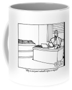 A Businessman Sits At His Desk Talking Coffee Mug