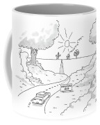 A Car On A Winding Road Heads For A Straight Road Coffee Mug